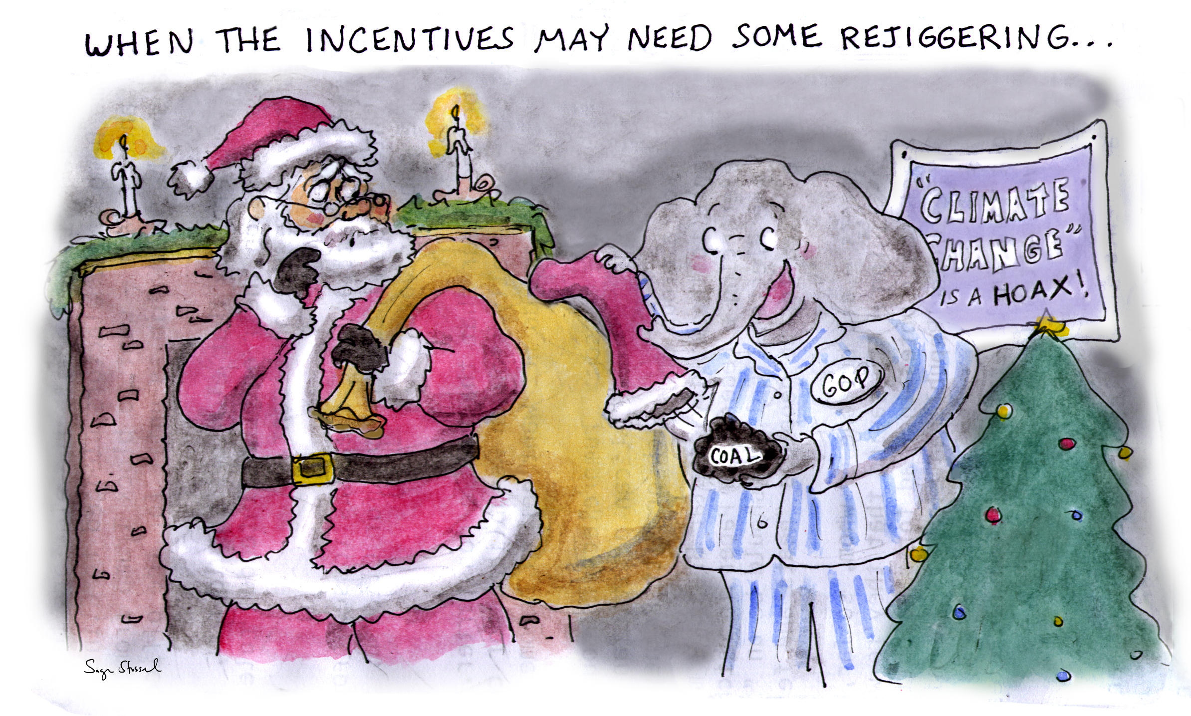 GOP, climate change, republicans, exxon, coal, questionnaire, energy department, rex tillerson, rick perry, deniers, christmas, santa, cartoon