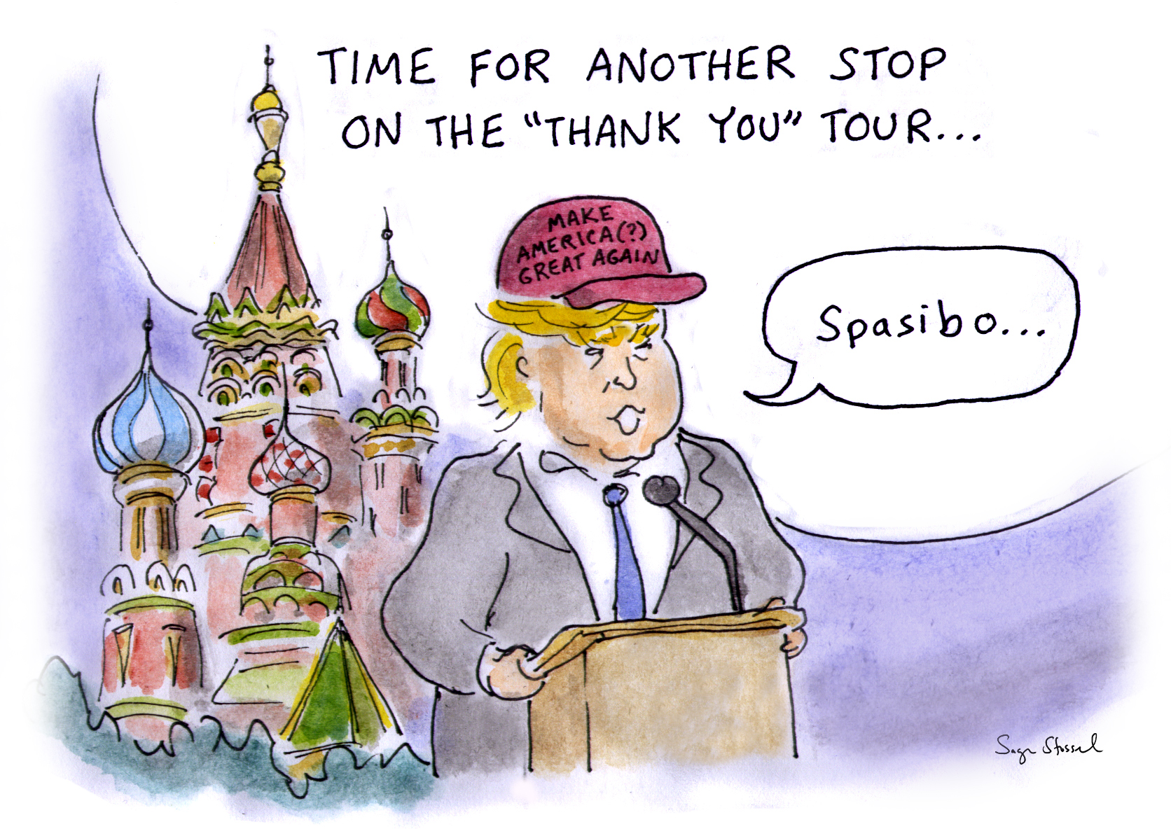 vladimir putin, election hacking, russia, meddling, destabilize, doubt, cia, trump, thank you tour, cartoon