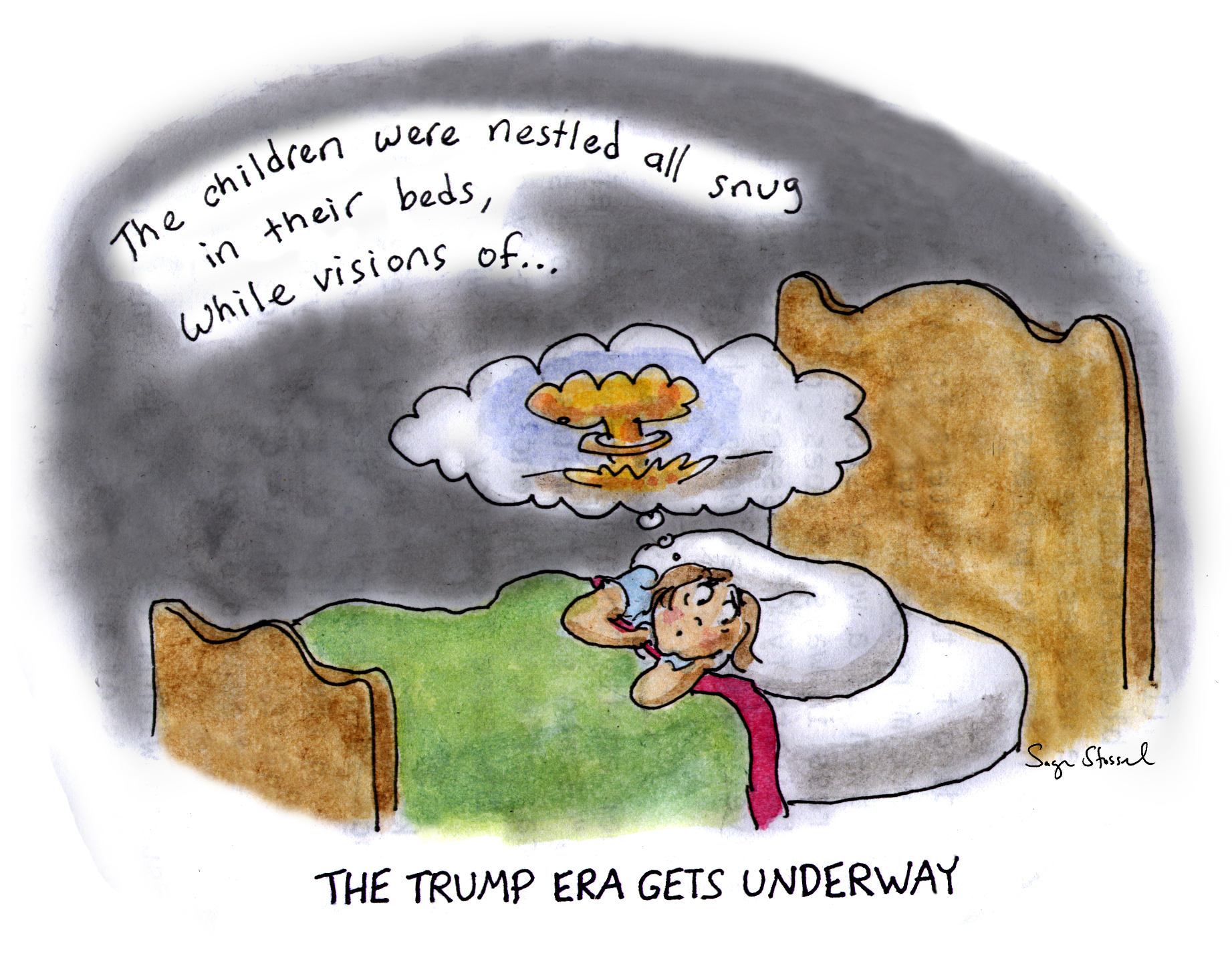 trump, nuclear arms race, tweet, proliferation, putin, christmas, holidays, president, cartoon