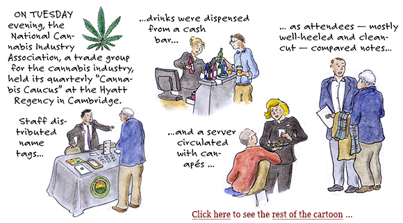 marijuana industry, cannabis caucus, jeff sessions, legalization, growers, cultivation, distribution, plants, lobbying, cartoon, sage stossel