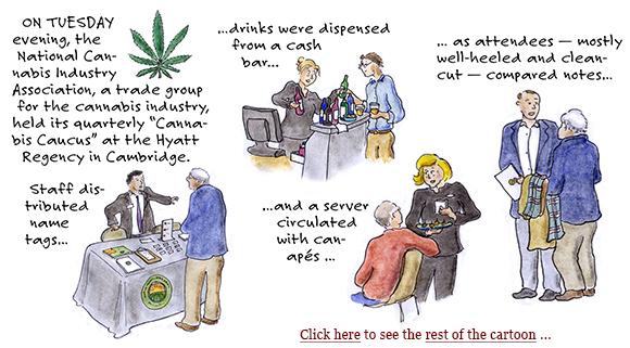 marijuana industry, cannabis caucus, jeff sessions, legalization, growers, cultivation, distribution, plants, lobbying, cartoon, sage stossel