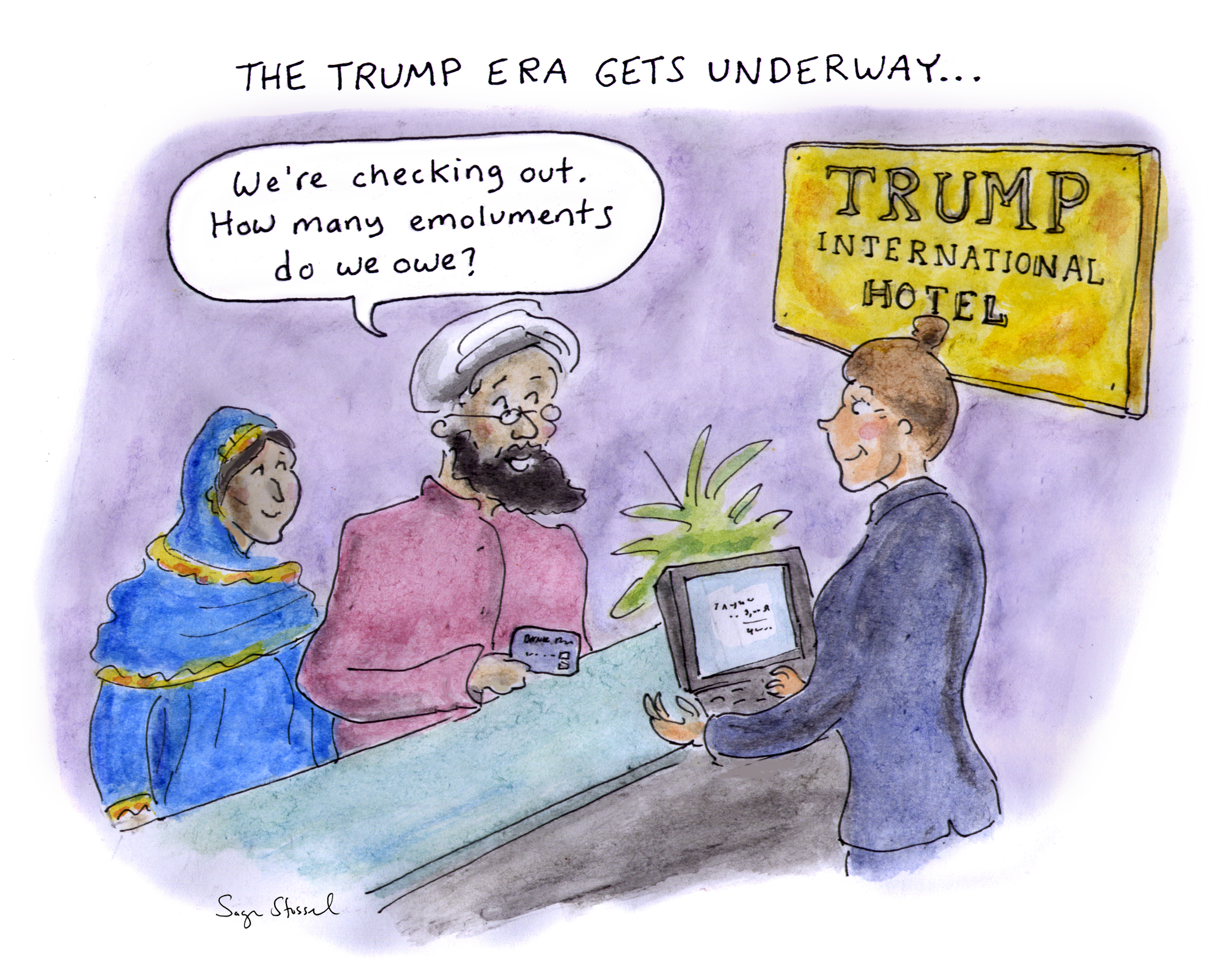 trump, ethics violations, emoluments clause, post office, d.c., trump international hotel, presidency, constitution, foreign gifts cartoon