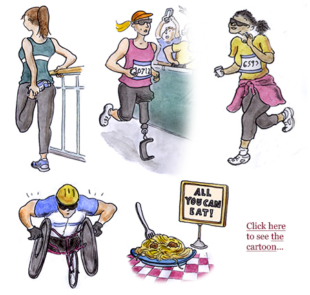 boston marathon, runners, athletes, boston strong, newton, heartbreak hill, wellesley, trump, wheelchair marathoners, cartoon, boston globe, sage stossel