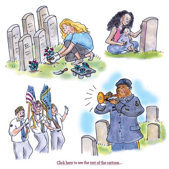 memorial day, cartoon, boston globe, sage stossel