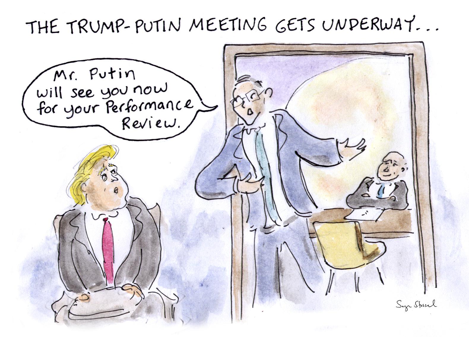 g20, trump, putin meeting, hamburg, germany, cartoon