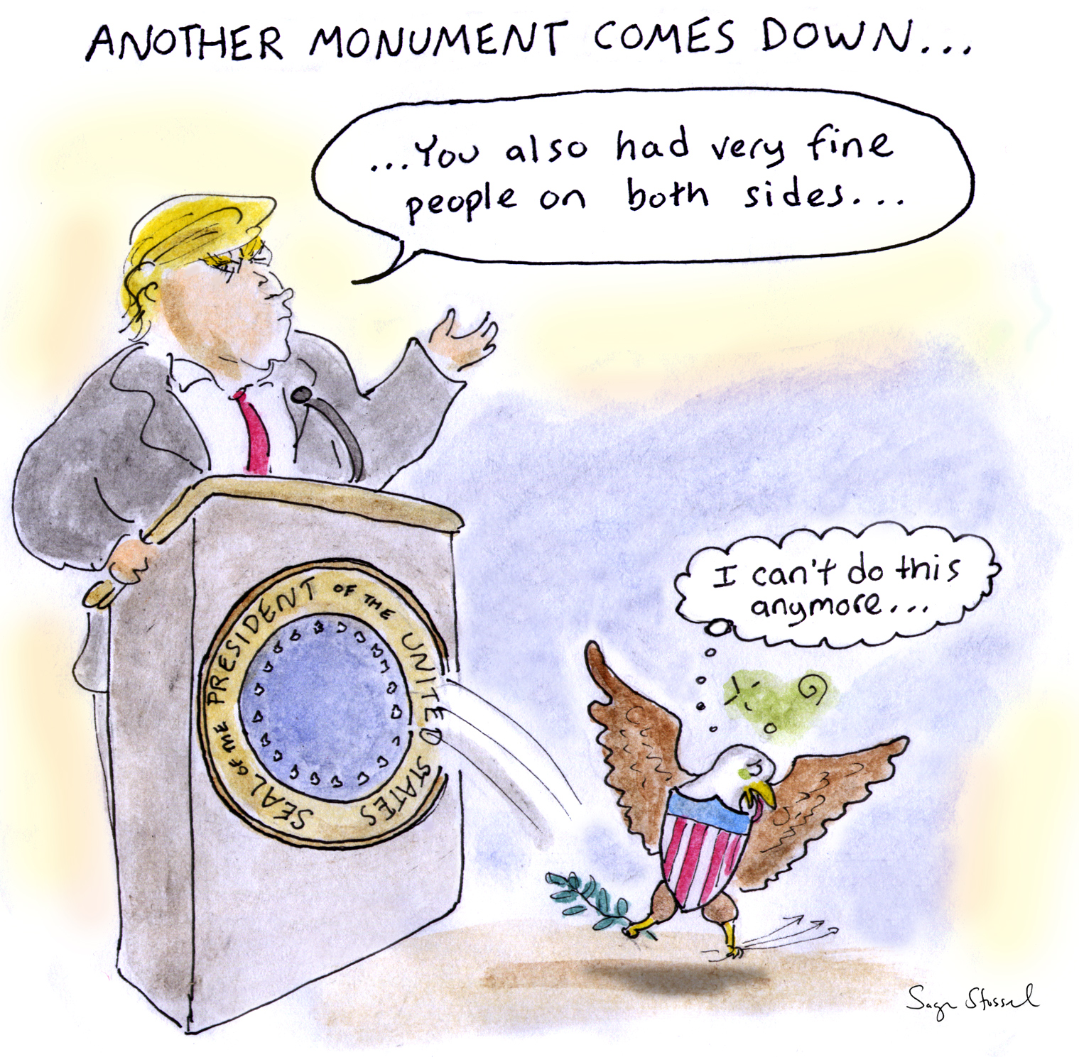 trump press conference, charlottesville, both sides, white supremacists, nazis, civil war monuments, presidential seal, cartoon