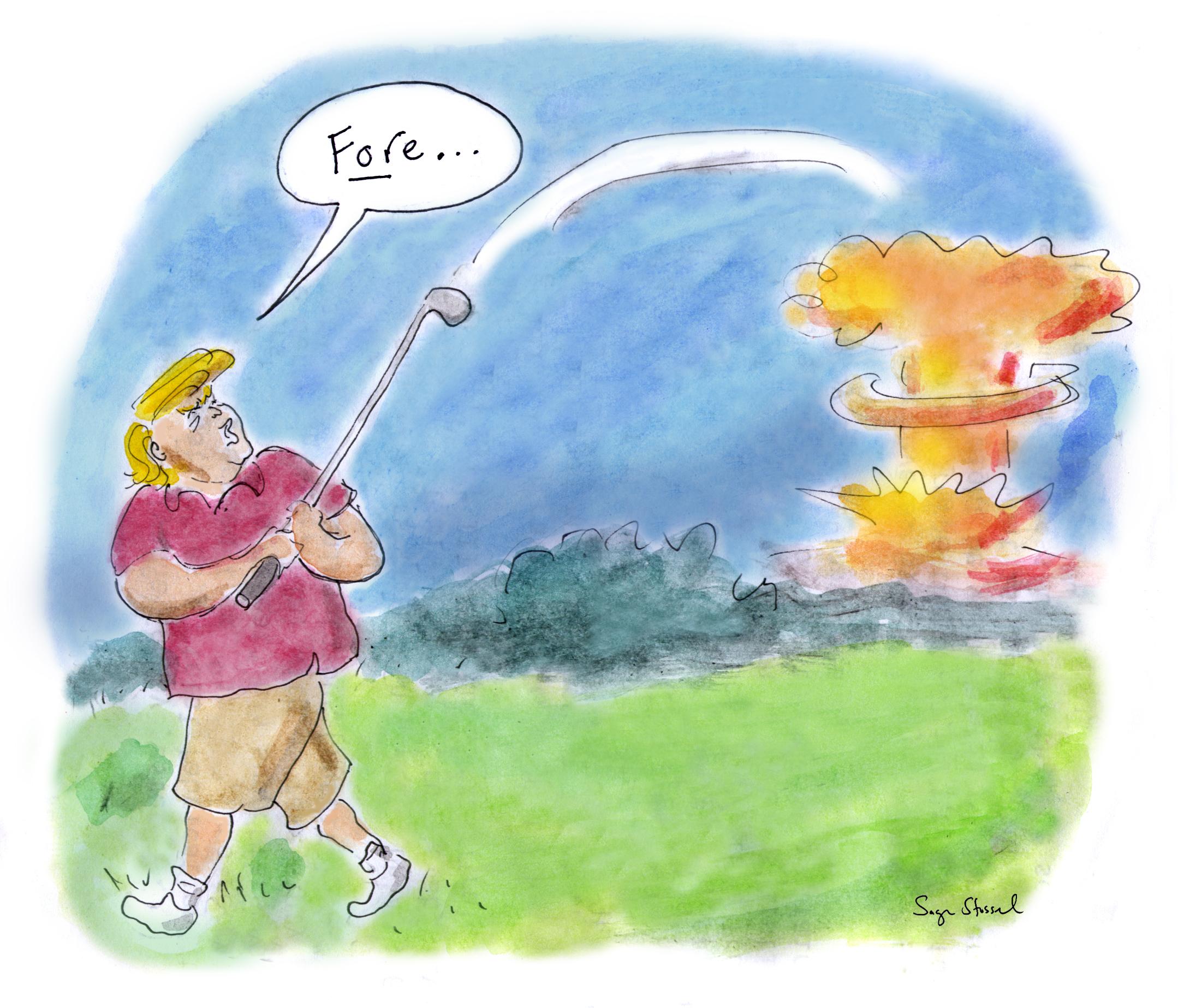 trump threaten north korea, fire and fury, guam, kim jong un, nuclear weapons, cartoon
