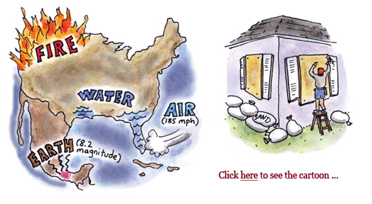 hurricane irma, hurricane harvey, powerball jackpot, wildfires oregon, montana, california, mexico earthquake, global warming, cartoon