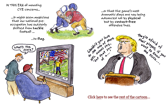kaepernick, trump, nfl, kneeling, national anthem, football, divisiveness, eric reid, espn, jemele hill, teen vogue, cartoon
