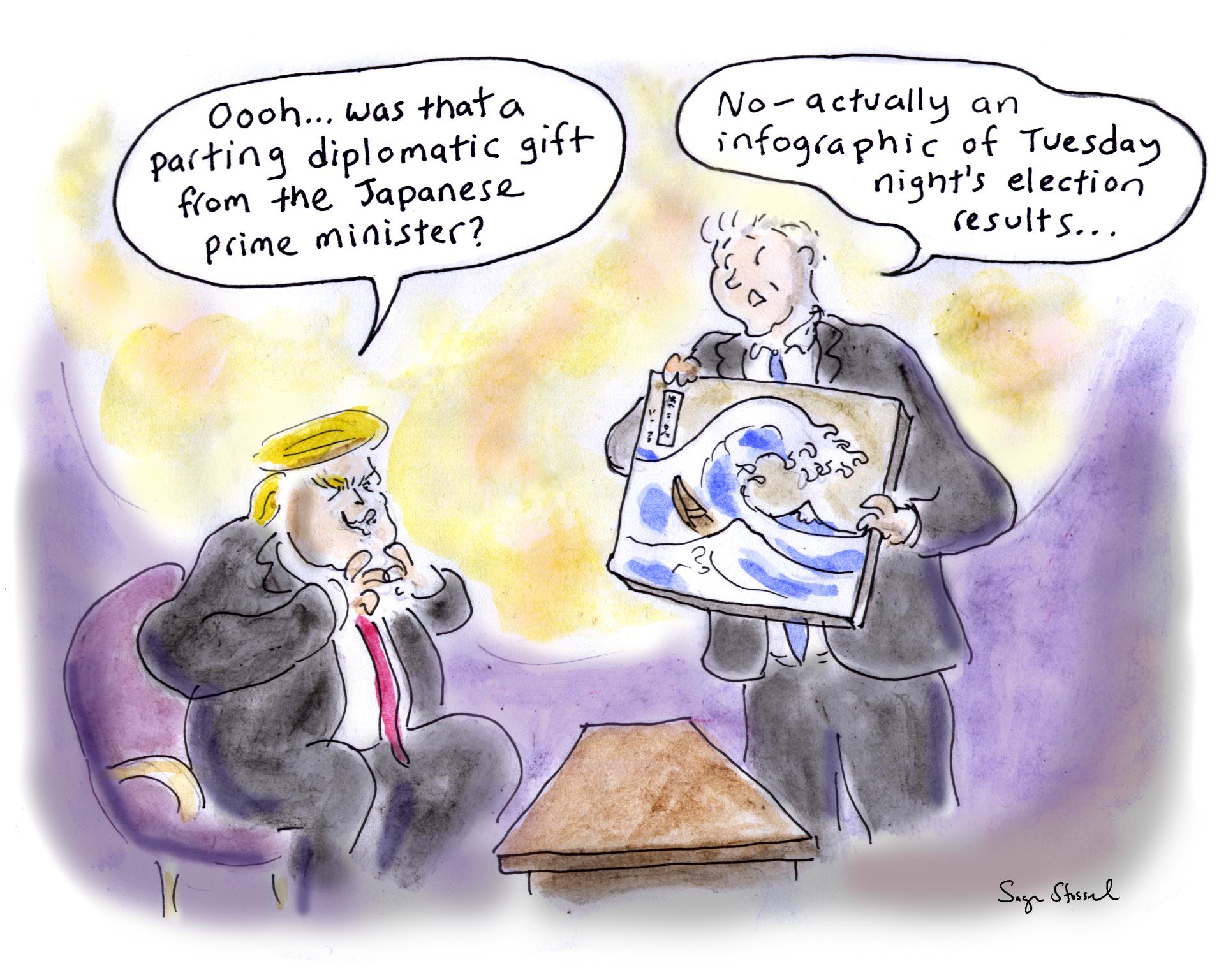 election, trump backlash, trump asia trip, democratic wave, cartoon