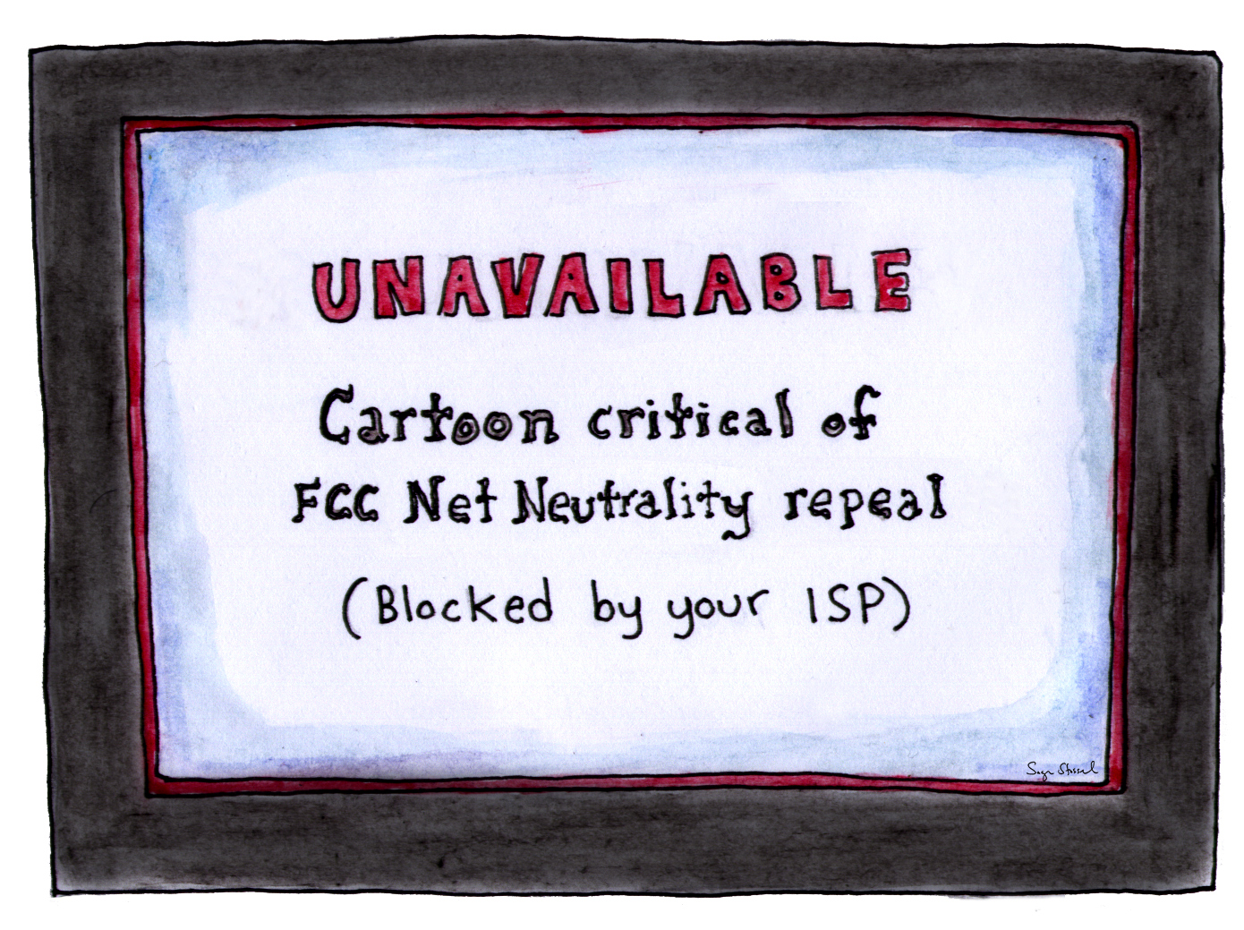 fcc, net neutrality repeal, ajit pai, internet, networks, fast and slow lanes, isp, cartoon