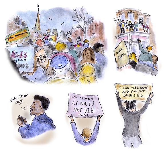 march for our lives, boston, boston common, roxbury, gun control, second amendment, protest, activism, youth, students, drawings, sketches, sage stossel