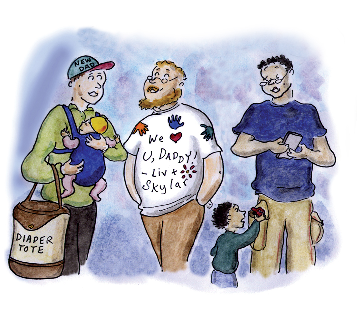 fathers, patriarchy, toxic masculinity, paternity leave, fatherhood, cartoon, sage stossel