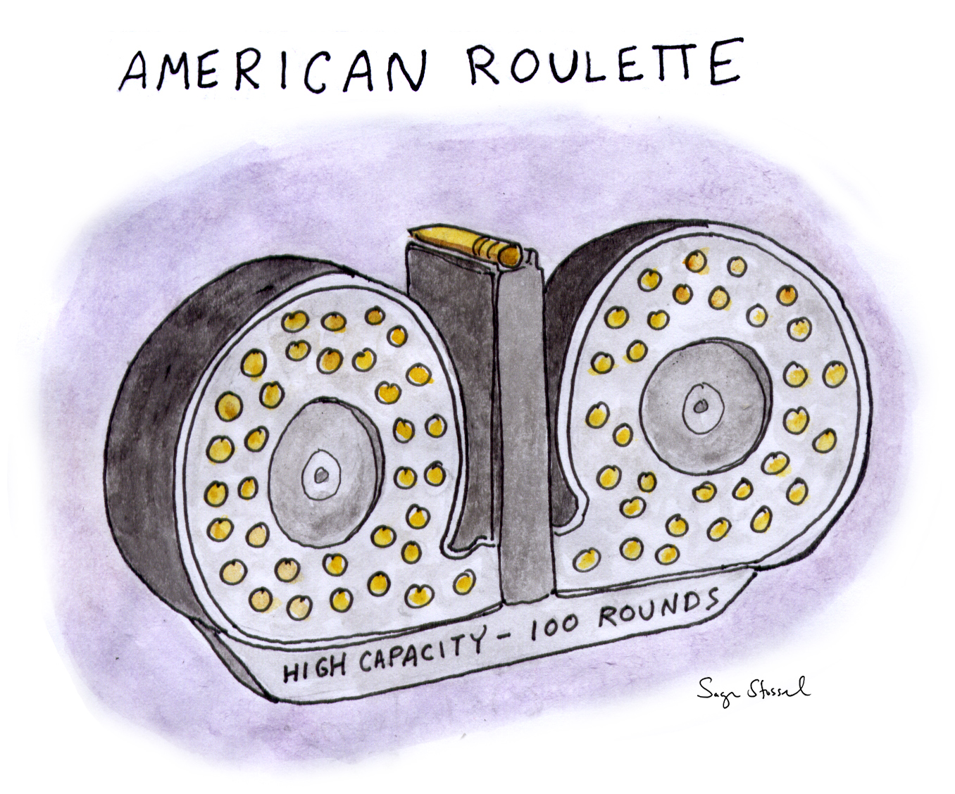 american guns, nra, high-capacity magazines, ak-47s, assault rifles, gun control, american roulette, second amendment, red flag laws, safety, cartoon, sage stossel