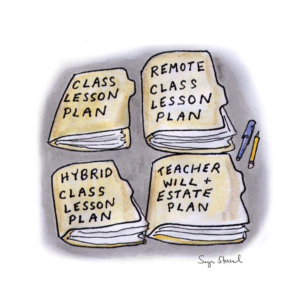 teachers, teaching, hazards, risks, coronavirus, covid-19, safety, cdc guidelines, transmission, lesson plans, hybrid, cartooning,  cartoon, sage stossel