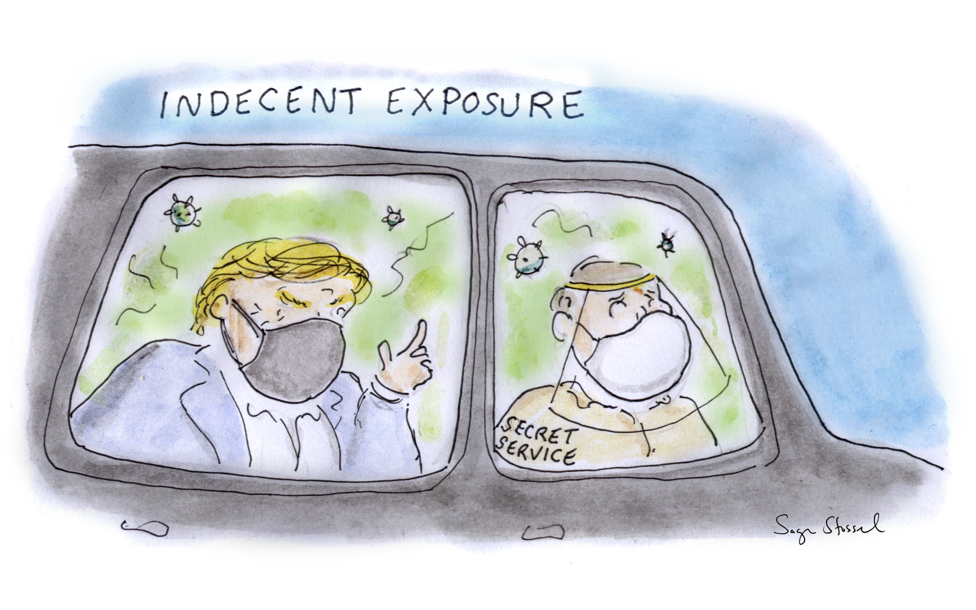 trump, coronavirus, walter reed, secret service, joy ride, exposure, assault, indecency, infectious, cartoon, sage stossel