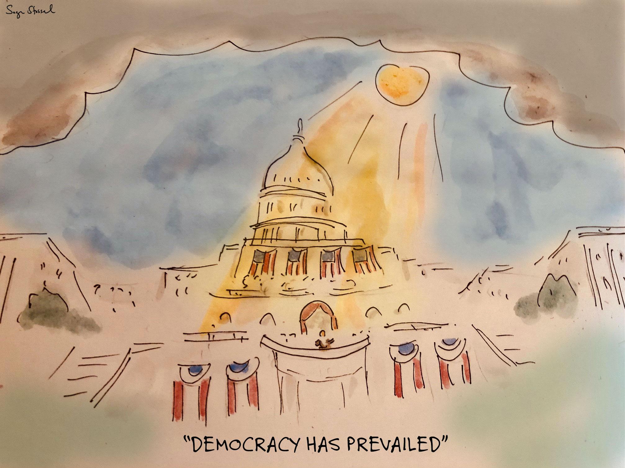 biden inauguration, democracy, america, trump, weather, cartoon, sage stossel