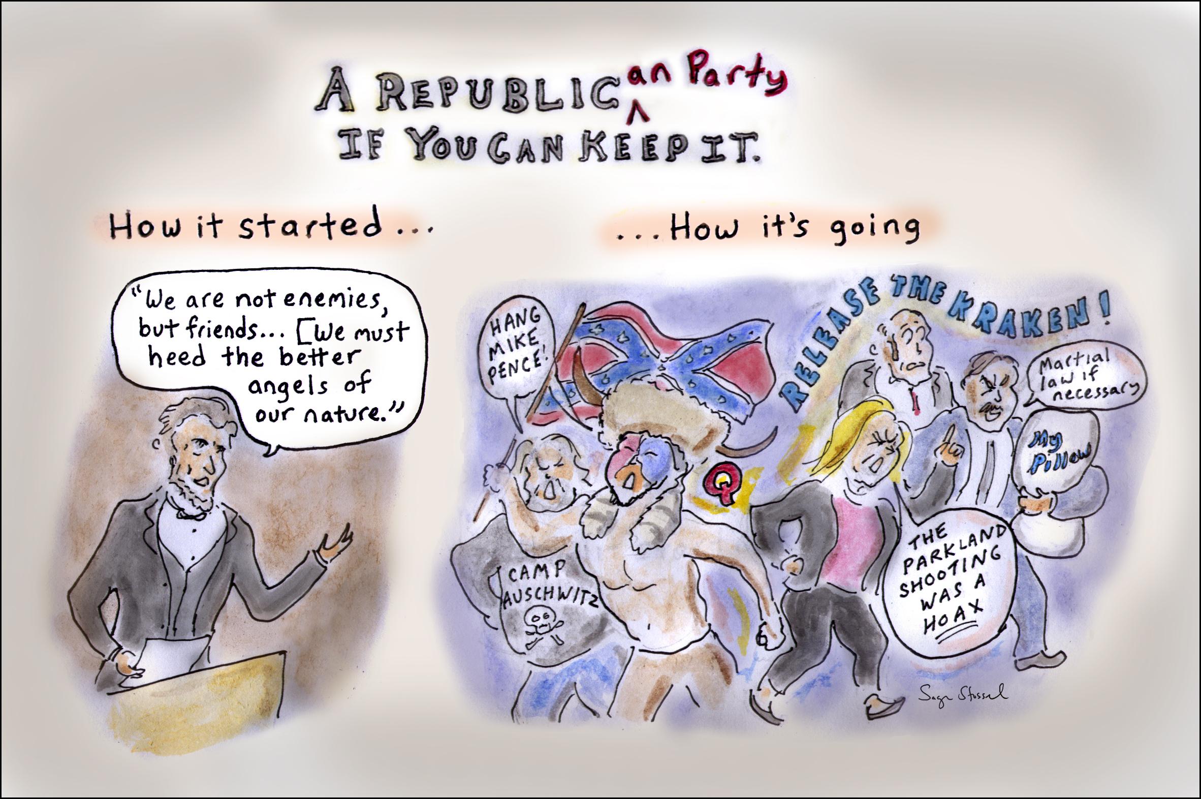 gop, republicans, marjorie taylor greene, Mike Lidell, abraham lincoln, rudy giuliani, release the kraken, qanon, democracy, party politics, trump, cartoon, sage stossel