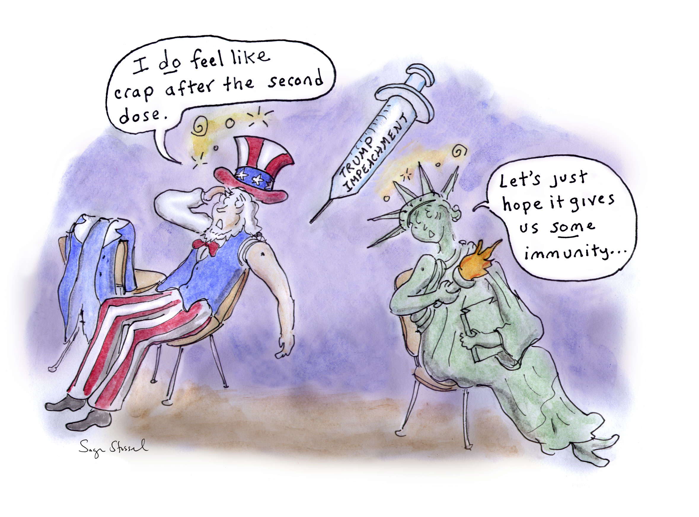 raskin, house impeachment managers, impeachment, republicans, democracy, us government, trump, q, insurrection, vaccine, doses, virus, covid, side effects, cartoon, sage stossel