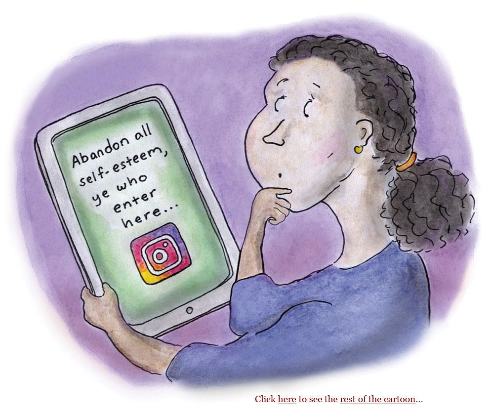 instagram, teen girls, self-esteem, social media, big tech, influencers, ralph waldo emerson, cartoon, sage stossel