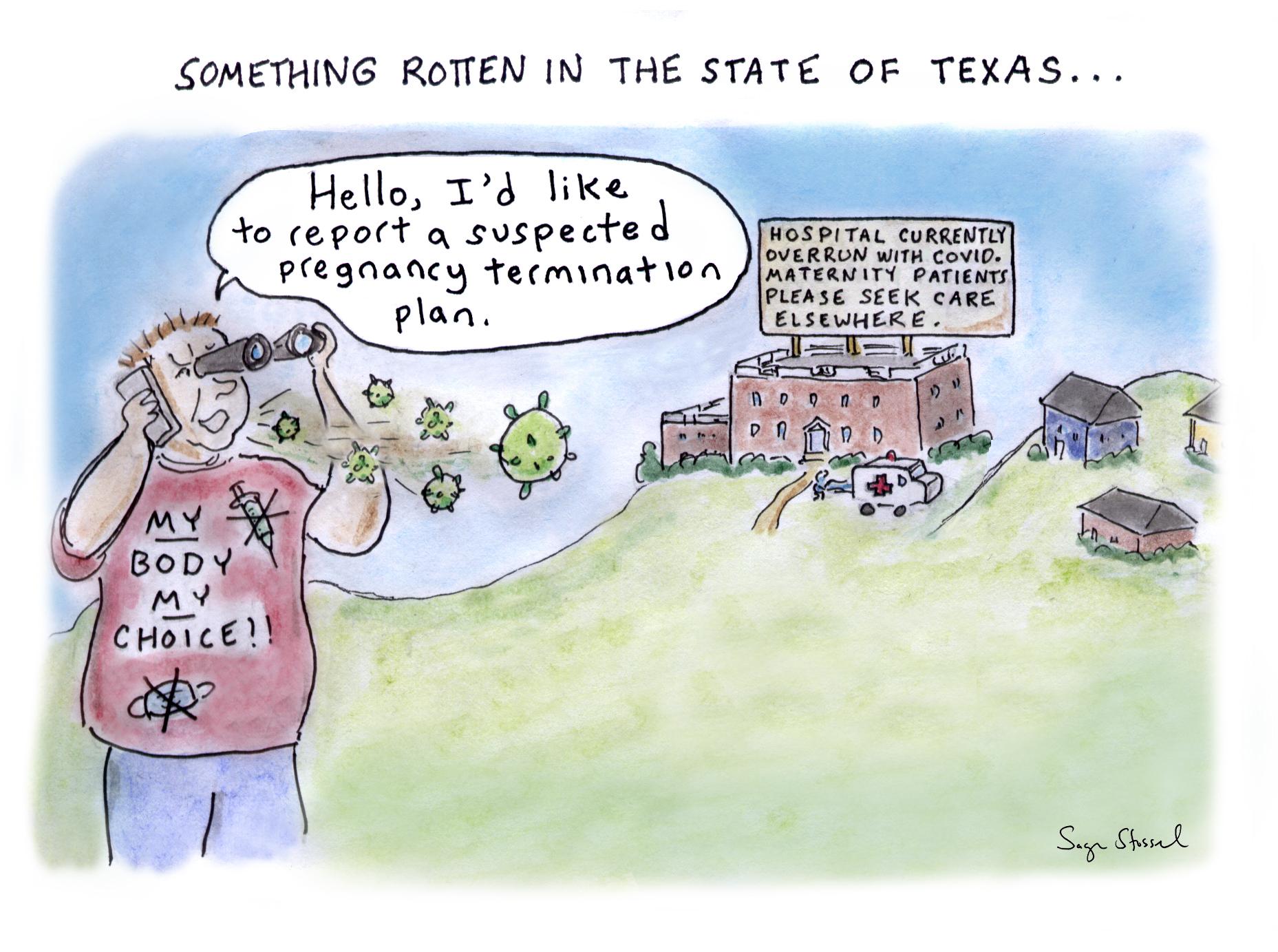 texas abortion law, covid, my body my choice, vigilante, supreme court, pregnancy termination, cartoon, sage stossel